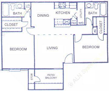 935 sq. ft. E floor plan