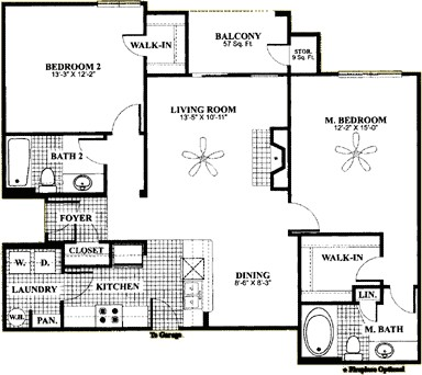 1,124 sq. ft. D4 floor plan
