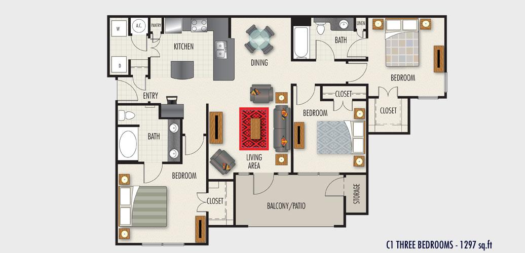 1,297 sq. ft. to 1,442 sq. ft. C1 floor plan