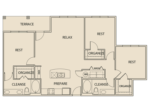 1,410 sq. ft. C1T floor plan