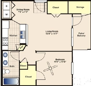650 sq. ft. to 815 sq. ft. A1 floor plan