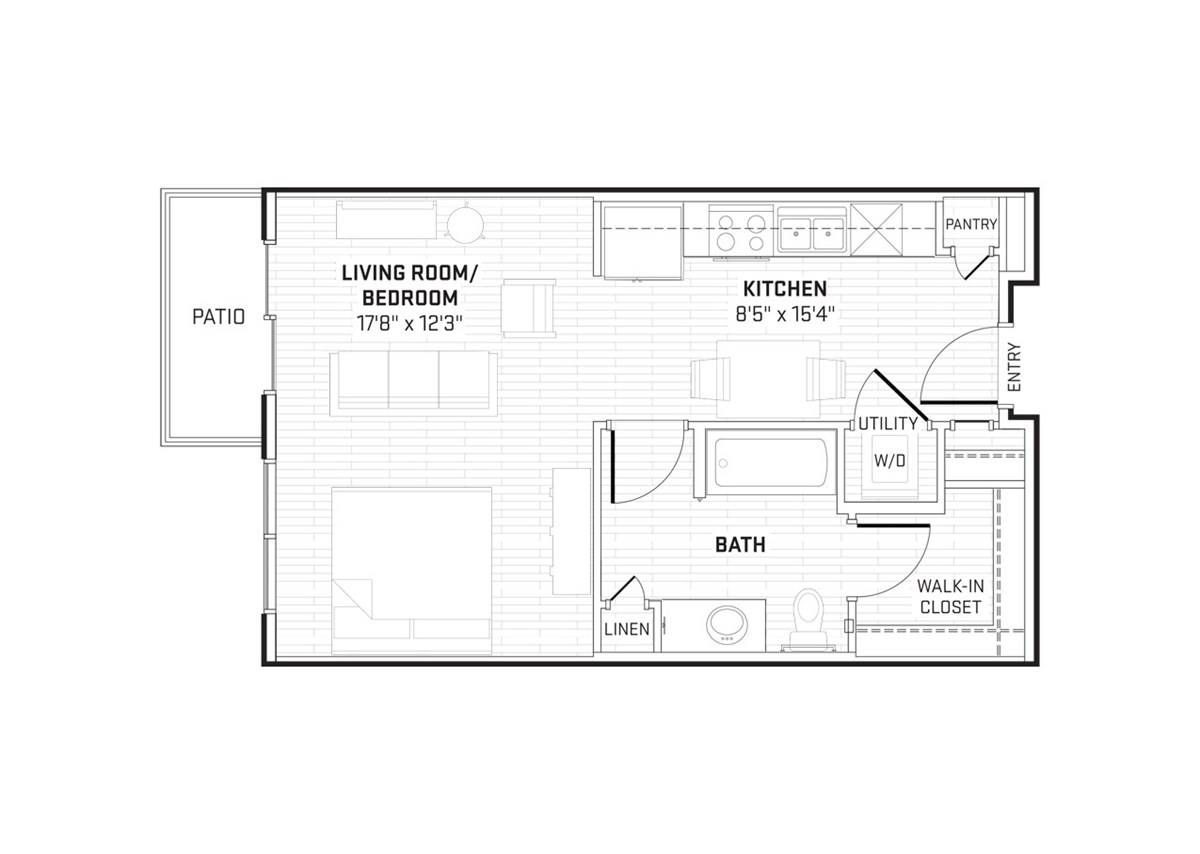 420 sq. ft. floor plan