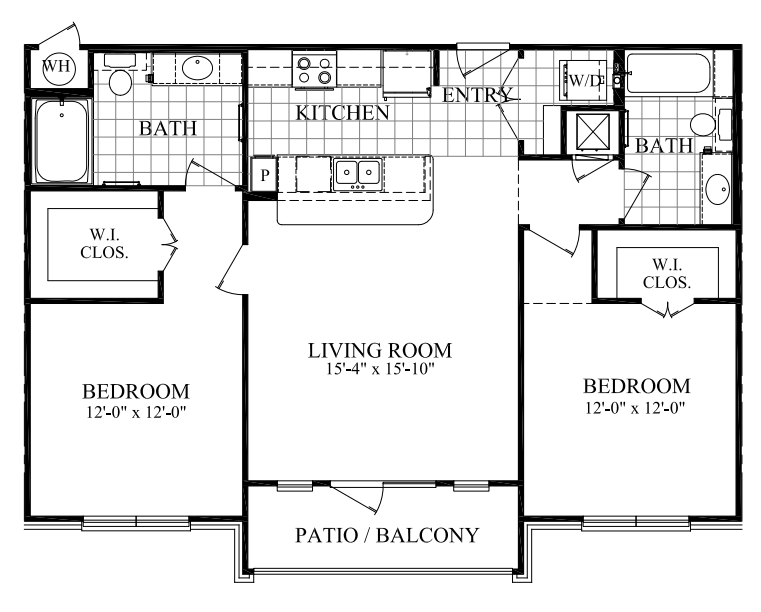 1,059 sq. ft. C floor plan