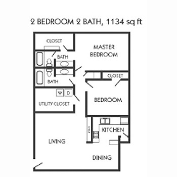 1,134 sq. ft. E floor plan