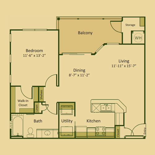 785 sq. ft. 1A floor plan
