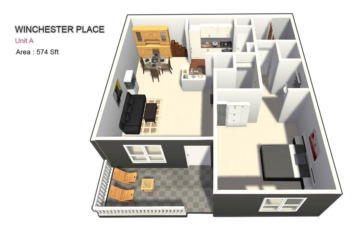 574 sq. ft. A floor plan