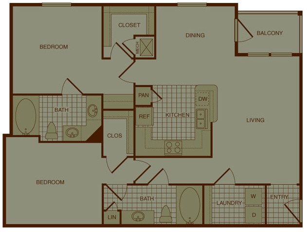 1,162 sq. ft. B1 floor plan