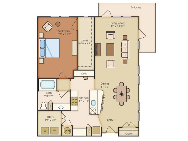 1,046 sq. ft. A3G floor plan