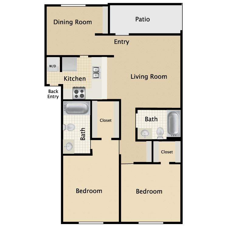 926 sq. ft. C1 floor plan