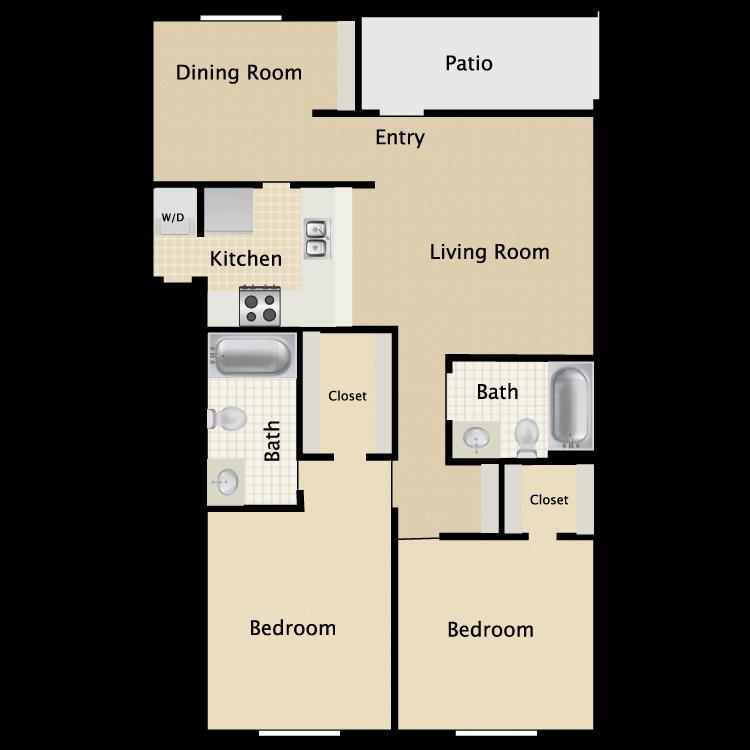 926 sq. ft. C1 floor plan