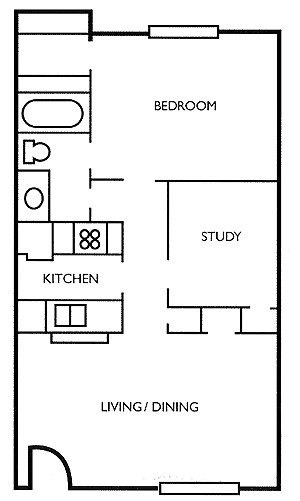657 sq. ft. Cedar floor plan