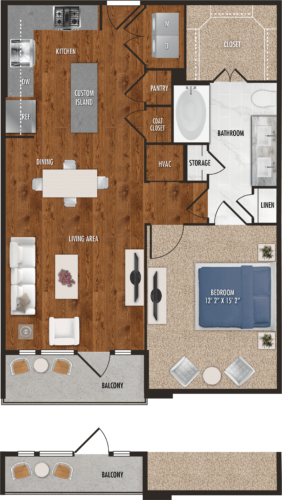 830 sq. ft. A5 floor plan