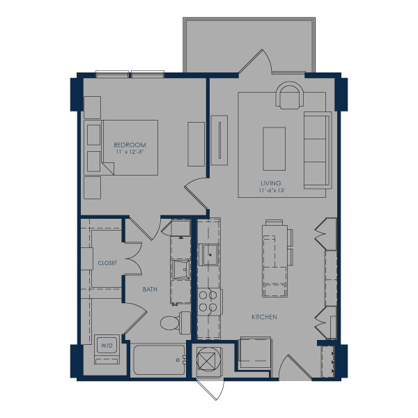 672 sq. ft. A24.5 floor plan