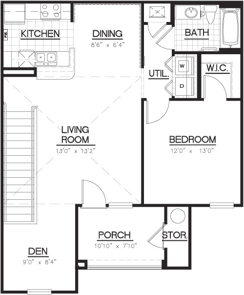 922 sq. ft. A4D floor plan