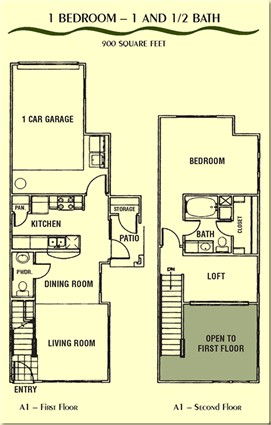 900 sq. ft. A1E floor plan