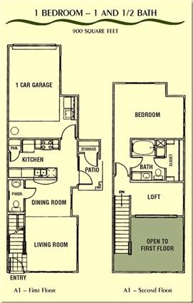 900 sq. ft. A1E floor plan