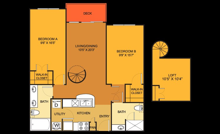 934 sq. ft. B9 floor plan