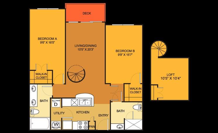 1,052 sq. ft. B9LOFT floor plan