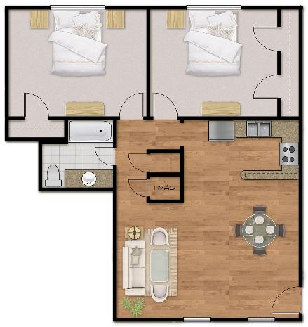 947 sq. ft. Plan E floor plan