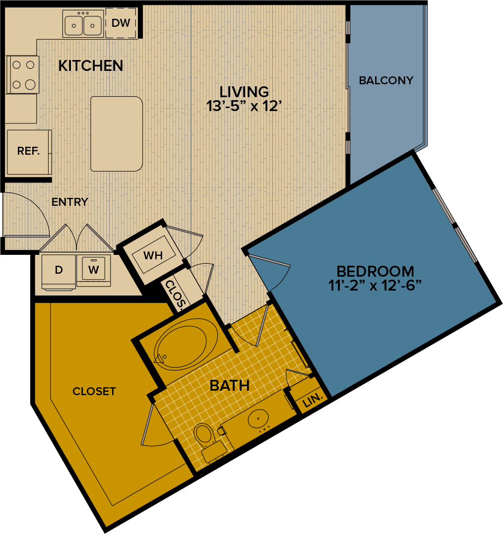 802 sq. ft. A8 floor plan