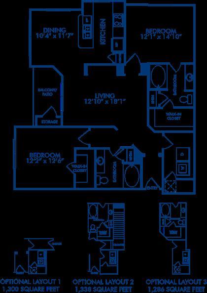 1,374 sq. ft. Springfield 2 floor plan