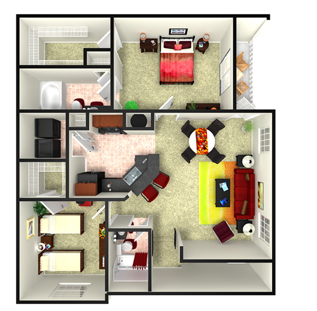 1,149 sq. ft. Moscow floor plan