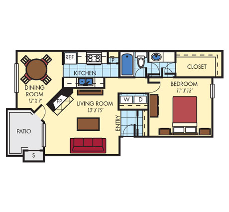 809 sq. ft. A2 floor plan