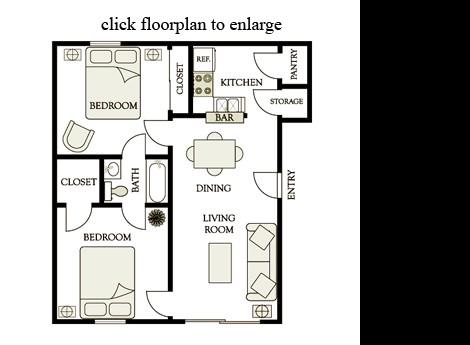 775 sq. ft. B2 floor plan
