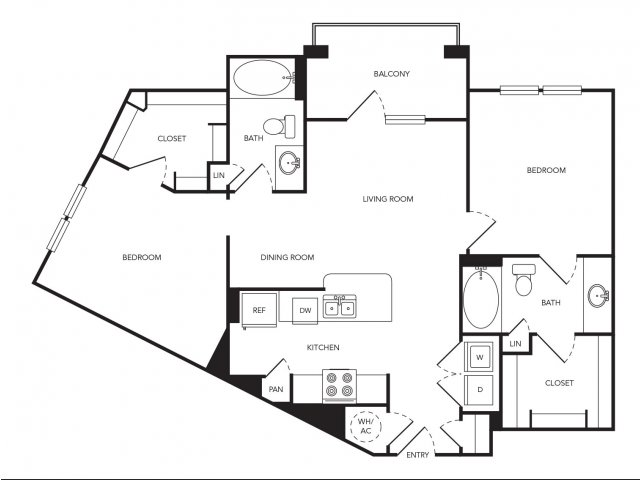 1,036 sq. ft. B5 floor plan