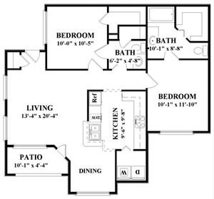 1,057 sq. ft. D floor plan