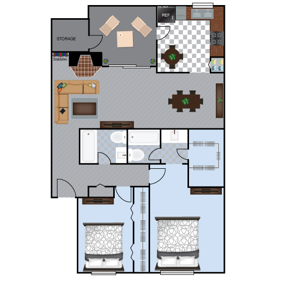 997 sq. ft. B1 floor plan