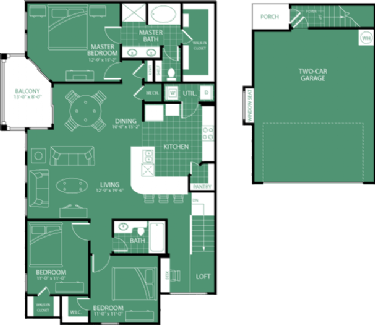 1,578 sq. ft. Southern Hills floor plan