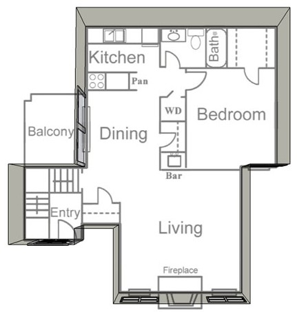825 sq. ft. B2 floor plan