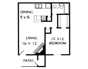 656 sq. ft. B floor plan