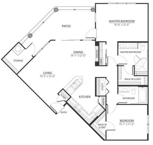 1,225 sq. ft. B2 floor plan