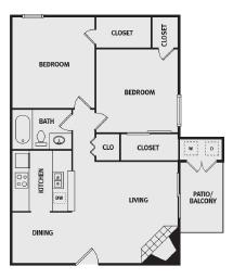 864 sq. ft. B1 floor plan