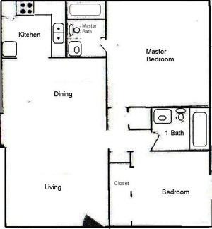 956 sq. ft. B2 floor plan