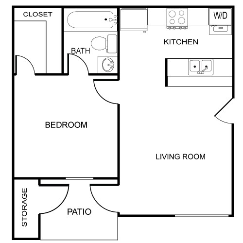 535 sq. ft. Province floor plan