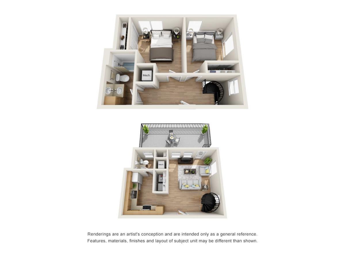 956 sq. ft. EF1 floor plan