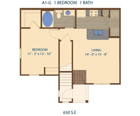 650 sq. ft. A2 floor plan