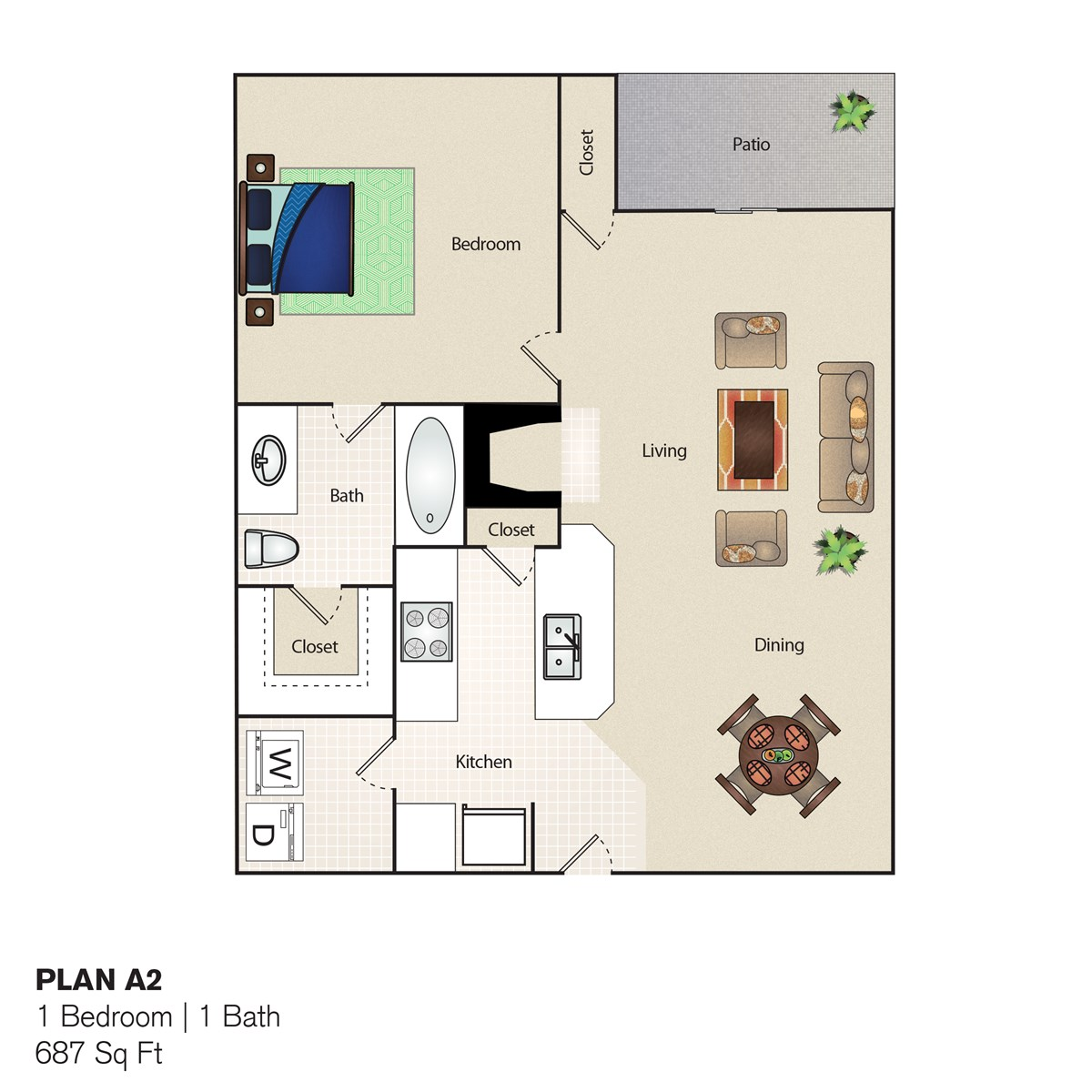 687 sq. ft. A2 floor plan