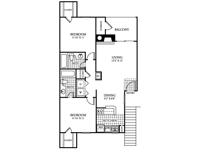 876 sq. ft. B1.1 floor plan