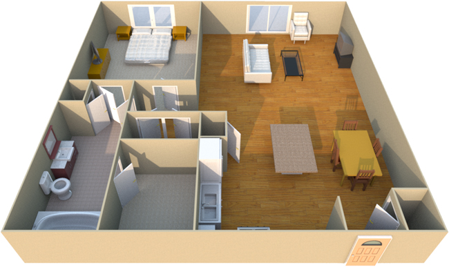 841 sq. ft. A3S floor plan