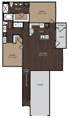 1,340 sq. ft. C3A 2nd floor plan