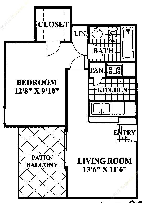 524 sq. ft. E floor plan