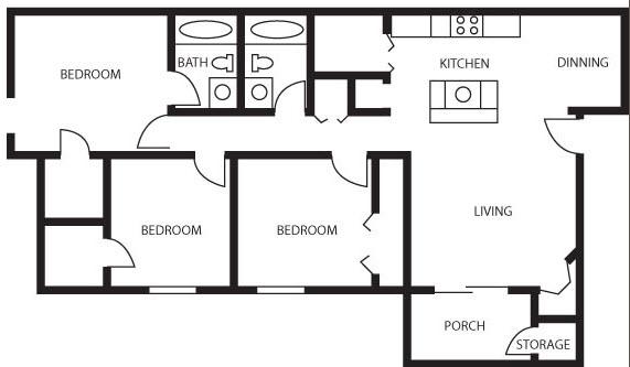 1,100 sq. ft. Royal Empress floor plan
