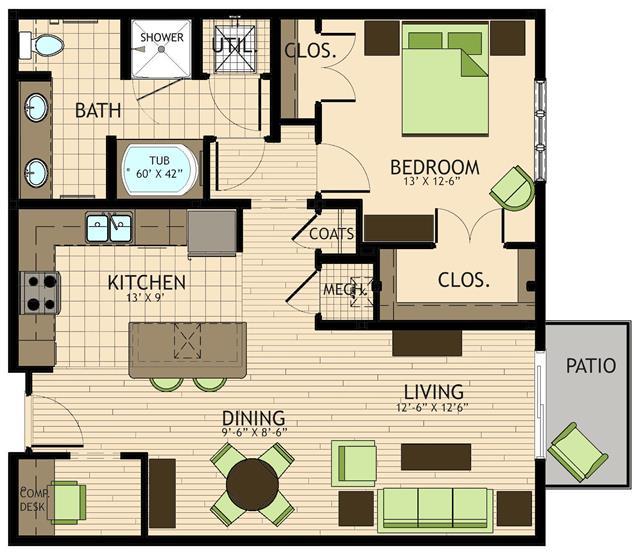 941 sq. ft. to 980 sq. ft. Dali floor plan