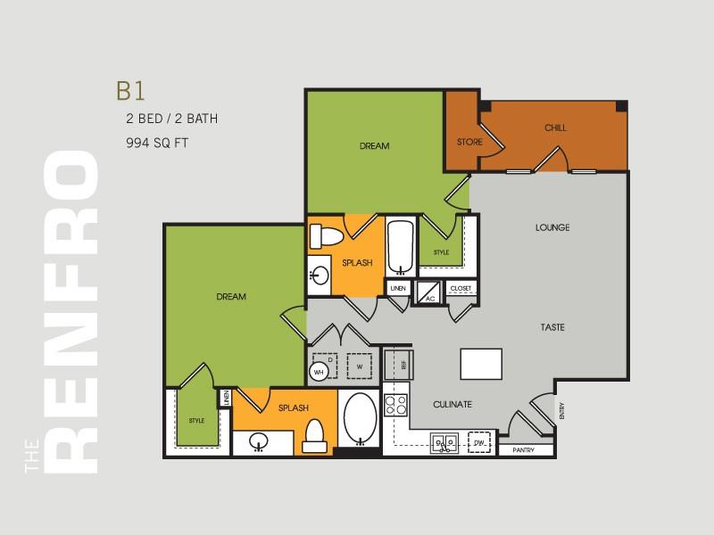 994 sq. ft. B1 floor plan