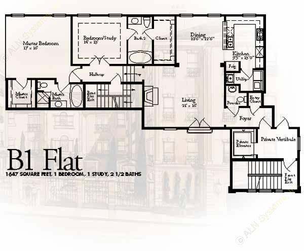 1,647 sq. ft. B1 floor plan