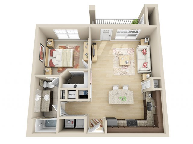 715 sq. ft. A7 floor plan